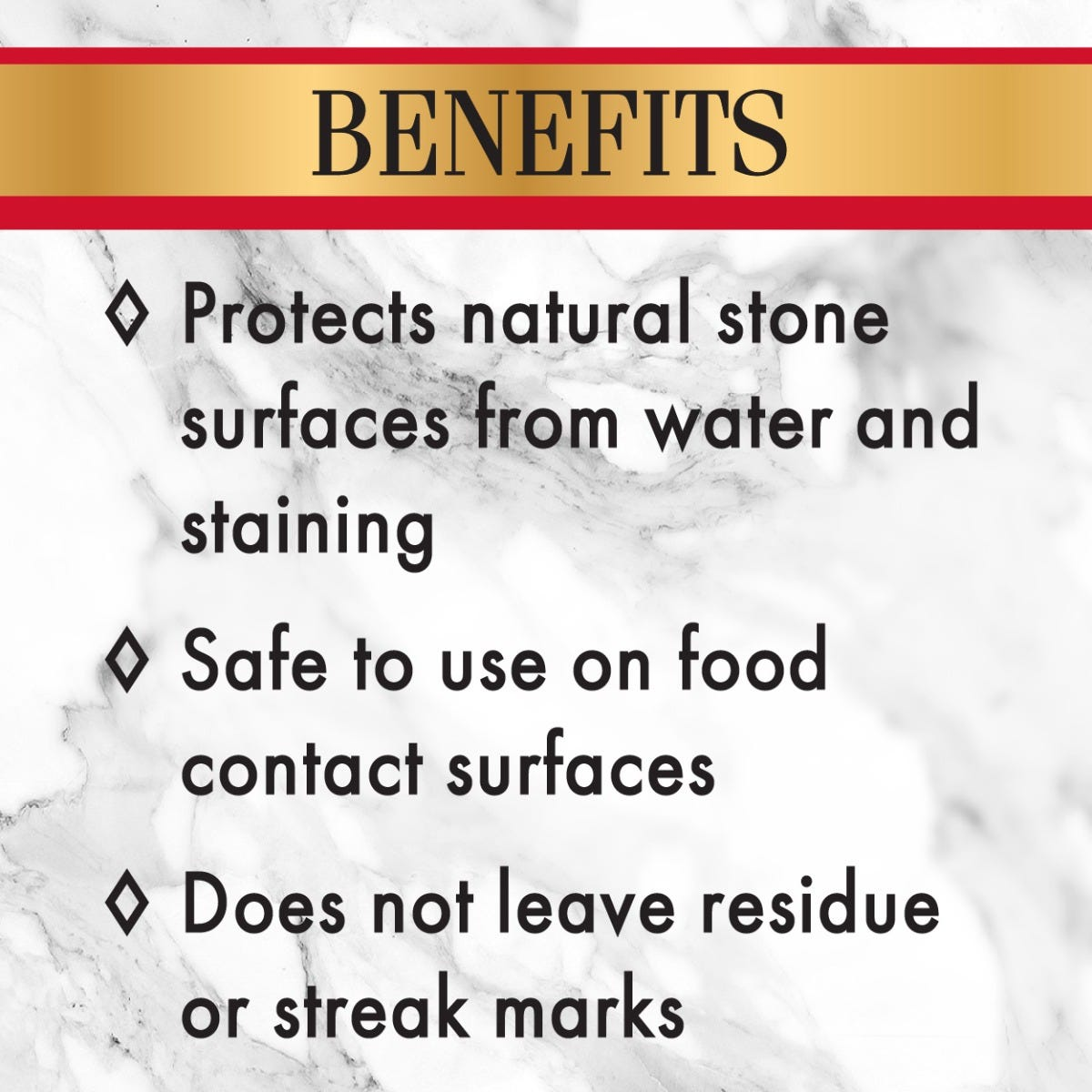Protects natural stone from stains and can be used on food contact surfaces