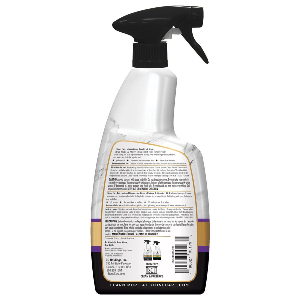 SCI Granite & Stone Clean, Shine & Protect Back Label