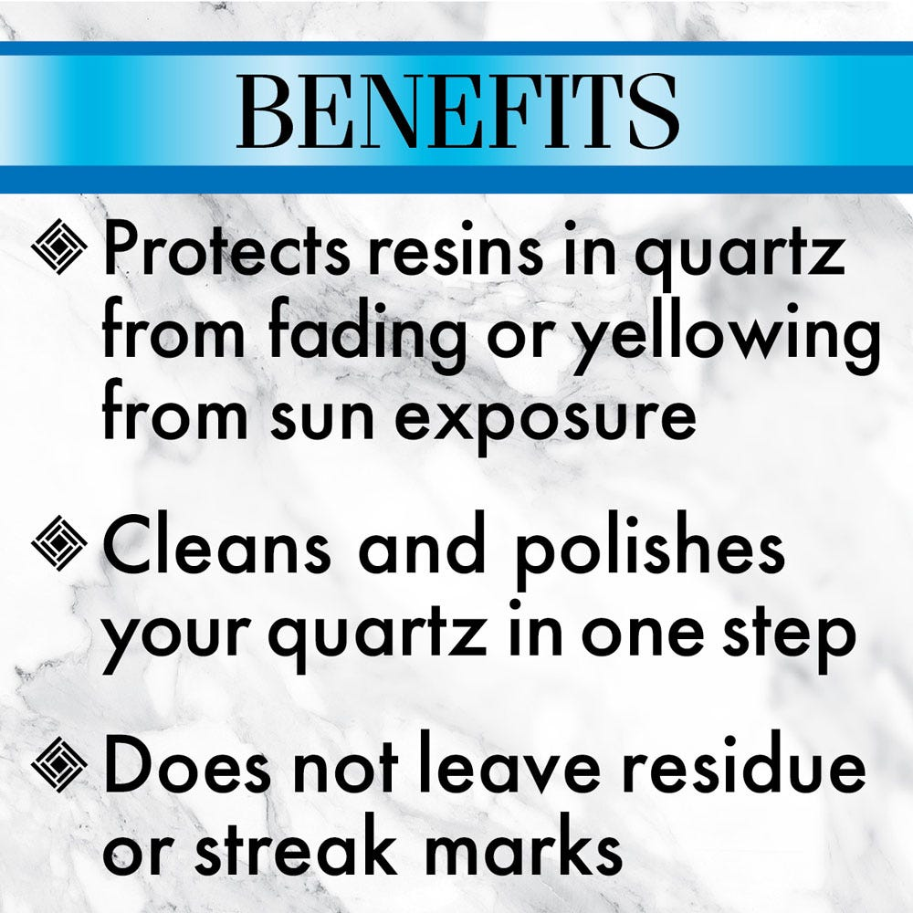 Protects resins in quartz from fading or yellowing