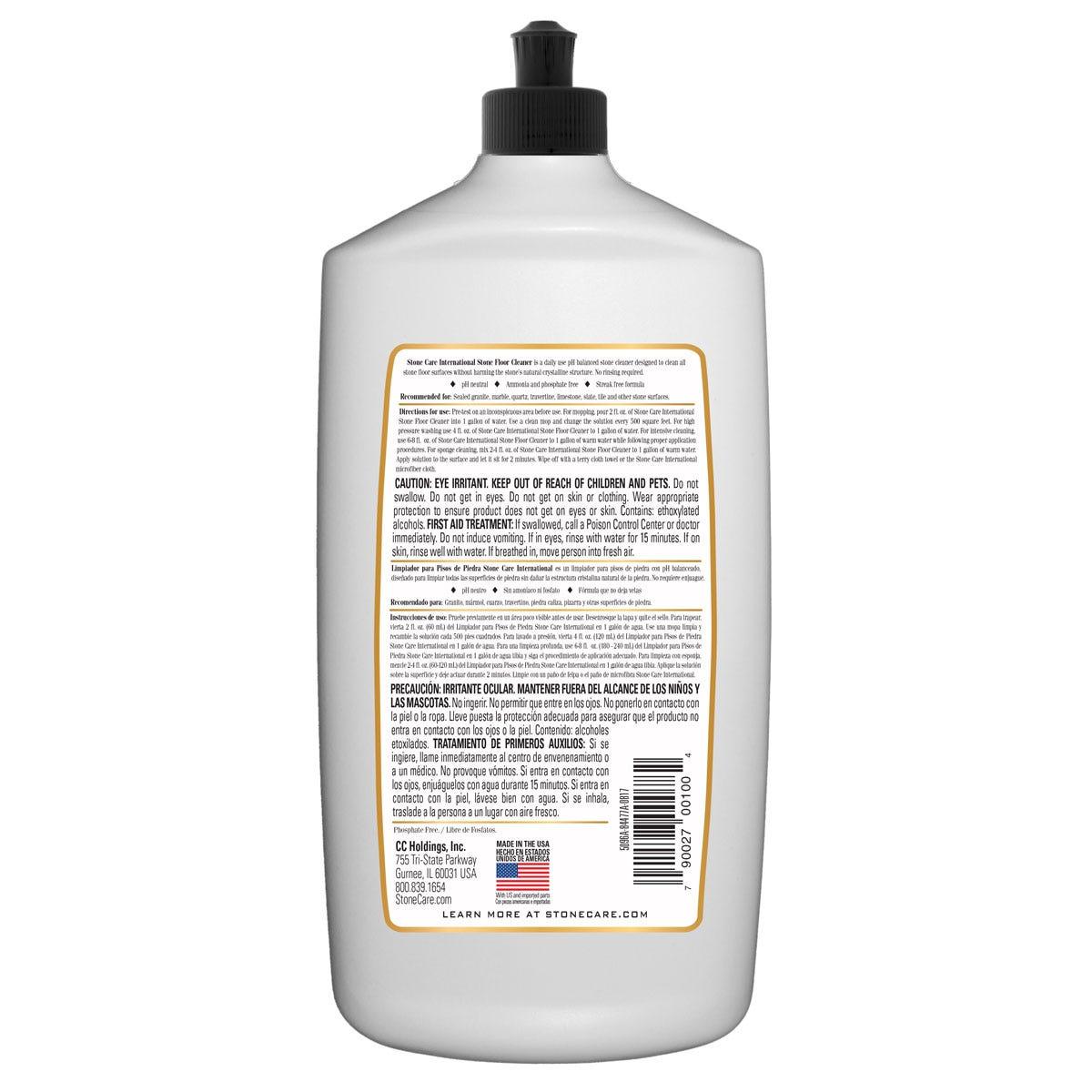 SCI Stone Floor Cleaner Back Label